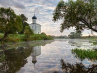 Боголюбово. Church of Intercession of Holy Virgin on the Nerl River early in morning. Built in 12th century. Bogolyubovo, Vladimir region. Фото Laures-Dep