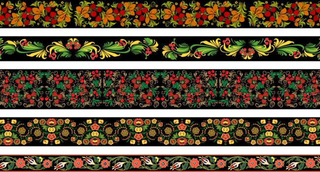 Палехская роспись. Set of 5 vector border patterns with floral ornament in Russian Khokhloma style styl, Eastern European vintage decor. Рис. N_Volodeva - Depositphotos