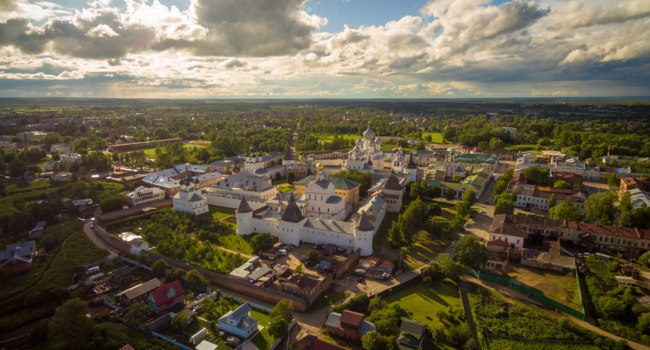 Золотое кольцо России. Ростов Великий. Aerial Bird- Gorgeous Rostov the Great Kremlin, Part of Russia Golden Ring Historical Heritage. Фото nikitabuida-Deposit