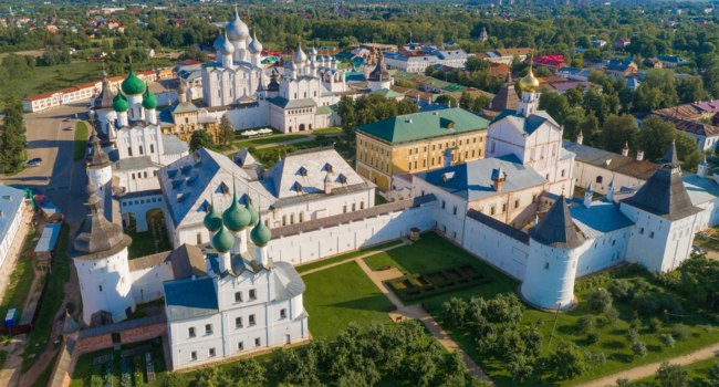 Золотое кольцо России. Ростов Великий. Over the Rostov Veliky Kremlin on a sunny July morning (aerial photography). Golden ring of Russia. Фото sikaraha - Deposit