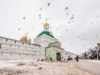 Сегиев Посад. Many people visit Trinity Sergius Lavra-largest Orthodox male monastery of Russia, founded in 1337 year. UNESCO World Heritage Site. deltaoff-Deposit