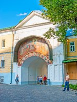 Сергиев Посад. The Assumption Gate St Sergius Trinity Lavra are neighboring with Holy Gate, decorated with fresco above the arch in Sergiyev Posad.  efesenko-Deposit