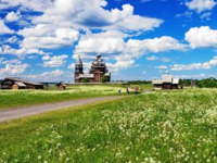 Россия. Карелия. Остров Кижи. Kizhi Pogost with Transfiguration Church in Ladoga Lake in Karelia in Russia. Фото markovskiy-Depositphotos