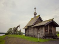 Россия. Карелия. Остров Кижи. Wooden church on island Kizhi on lake Onega, Russia. UNESCO list of World Heritage sites. Фото Olivia-Depositphotos