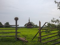 Клуб путешествий Павла Аксенова. Россия. Карелия. Остров Кижи. Summer landscape in the Kizhi Island. Ancient wooden architecture.Фото Olivia-Deposit