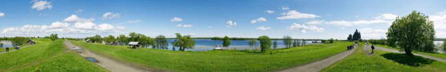 Россия. Карелия. Остров Кижи. Panoramic photo made on Kizhi island on a bank of Ladozhskoe lake. Фото YAYImages - Depositphotos