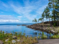 Россия. Карелия. Остров Валаам. Landscape of Lake Ladoga to Valaam Island on a sunny day. Ladoga lake. Karelia. Фото A_Mikhail-Depositphotos