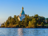 Россия. Карелия. Остров Валаам. Saint Nicholas Island (skete) before sunset.Valaam Transfiguration monastery. Evening shot. Karelia. Russia. Фото A_Mikhail-Deposit