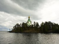 Russia, cell of Saint Nicholas of Transfiguration of Jesus Christ monastery on island Valaam on Ladoga lake in cloudy weather. Фото Afonskaya-Depositphotos