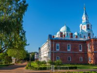 The territory of the Spaso-Preobrazhensky Cathedral is the main building. The island Valaam is located on Lake Lodozhskoye, Karelia. Фото GeneralSky-Deposit