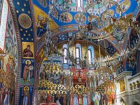 Interior painting of St. Vladimir Cathedral Valaam Transfiguration Monastery. Ladoga lake. Karelia. Фото A_Mikhail-Depositphotos