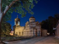 Россия. Крым. Город-герой Керчь. St. John the Baptist Church in the city of Kerch in the light of lanterns. Фото Kannap - Depositphotos