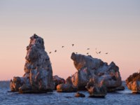 Россия. Крым. Город-герой Керчь. Rocks in the sea off the beach in the city of Kerch in the morning light. Фото Kannap - Depositphotos