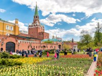Россия. Москва. Александровский сад. View of Alexander Garden in the spring, with people then enjoying blooming tulips. Фото elesi-Deposit