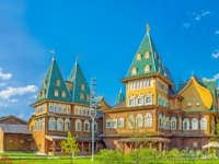 The architectural ensemble of the renovated wooden Grand Palace of Tsar Alexei Mikhailovich, one of the most impressive landmarks of Kolomenskoye Manor, Moscow