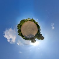 Global little planet panoramic view of garden between the Orangerie and the Palace in Kuskovo Estate. The Palace of Kuskovo. Фото Max_Ryazanov-Deposit