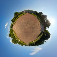 Global little planet panoramic view of garden between the Orangerie and the Palace in Kuskovo Estate. The Palace of Kuskovo, the Orangerie and the Grotto at backg