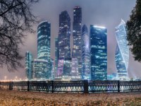 Россия. Москва-сити. View of the International Business Center Moscow City from the Taras Shevchenko Embankment. Фото fotiy - Depositphotos