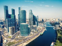 Россия. Москва-сити. Aerial view of Moscow downtown. Modern skyscrapers over Moskva-River in central Moscow, Russia. Фото scaliger - Depositphotos