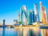 Россия. Москва-сити. Panorama of Moscow International Business Center at morning with Moskva river. Фото fotosaga - Depositphotos