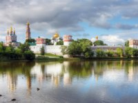 Россия. Москва. Панорама Новодевичьего монастыря. Novodevichy convent in the early morning (view from the lake). Moscow. Russia. Фото doroshin-Deposit