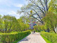 Россия. Москва. Новодевичий монастырь. Novodevichy Convent boasts numerous shady alleys with trimmed bushes in Moscow. Russia.  Фото efesenko-Depositphotos