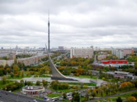 Россия. Москва. Панорама музея астронавтики. Panorama of central museum of Astronautics and Ostankino tower in Moscow, Russia. Фото Stoyanov-Depositphot