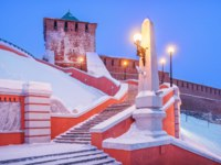 Россия. Нижний Новгород. Чкаловская лестница. Chkalov Stairs from the Volga Embankment to the Kremlin in Nizhny Novgorod, Russia. Фото yulenochekk - Freepik.com