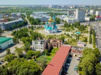 Россия. Панорама г. Омска. The Cathedral of the Assumption of the Blessed Virgin Mary, panoramic views of the city. Omsk, Russia. Фото MaykovNikita - Depositphotos