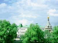 Россия. Омск. Park, historical buildings and chapel in Omsk. Russia. Фото allnow2 - Depositphotos