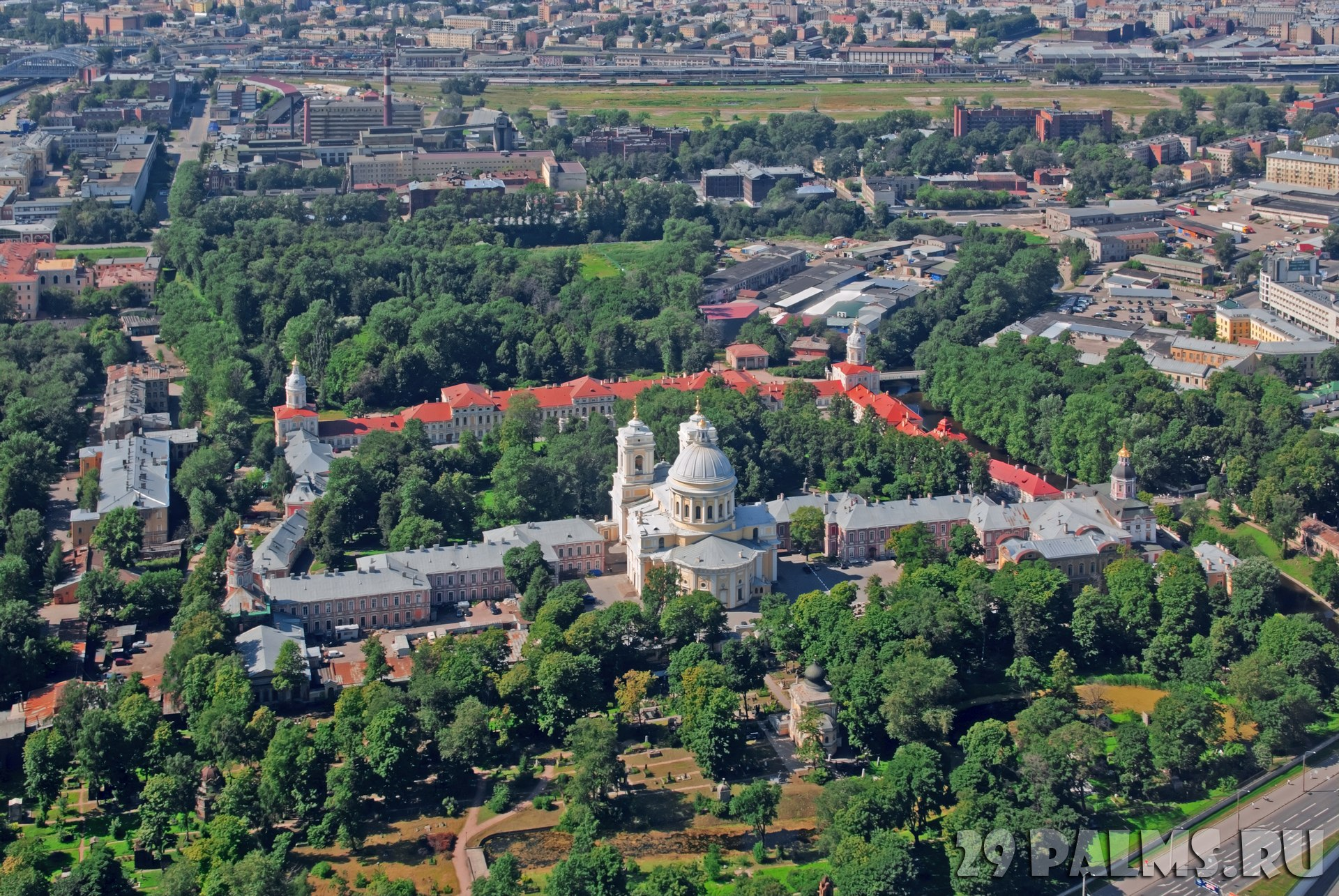 Россия. Санкт-Петербург. Свято-Троицкая Александро-Невская лавра. Aerial view of the Alexander Nevsky Lavra. St. Petersburg. Russia. Фото Meoita-Depositphoto