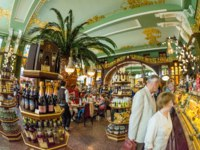 Елисеевский магазин. Elisseeff Emporium in St. Petersburg is a large retail and entertainment complex, including a famous food hall, constructed for the Elisseeff Bro