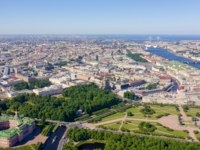 Россия. Санкт-Петербург. Панорама Марсова поля. Panoramic aerial view of the city center of St. Petersburg in clear sunny weather. Фото MaykovNikita - Depositphotos