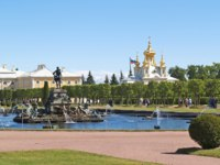 Россия. Санкт-Петербург. Петергоф. Фонтан Нептун в Вернем саду. The fountain of Neptune in the top park Peterhof. Russia. Фото vodolej - Depositphoto