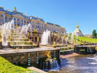Россия. Санкт-Петербург. Петергоф. Большой каскад. Grand Cascade in Peterhof, St Petersburg, Russia. Фото scaliger - Depositphotos