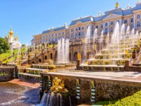 Россия. Санкт-Петербург. Петергоф. Большой каскад. Grand cascade in Peterhof, Saint Petersburg. Russia. Фото scaliger - Depositphotos