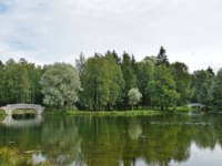 Picturesque view of old bridge and pond in the palace park in Gatchina, town near Saint Petersburg, Russia. Фото a-poselenov - Depositphotos