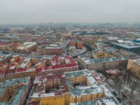 Россия. Санкт-Петербург. Канал Грибоедова. St. Petersburg in winter, view from above. Shot on a drone. Фото Lindrik - Depositphotos