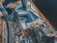 Россия. Санкт-Петербург. Лахта Центр. Ariel view construction of a modern skyscraper Lakhta center. Russia, St. Petersburg. Фото composter-box@mail.ru - Depositphotos