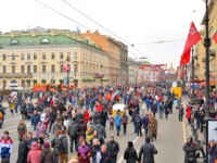 Victory parade on Nevsky Prospect. The celebration of 72 anniversary of Victory in the Great Patriotic War. Фото konstsem-Depositphotos