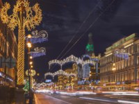 Россия. Санкт-Петербург. Невский проспект. Nevsky Prospect at night Christmas illumination. It is the main street in St. Petersburg. Фото paanna-Deposit