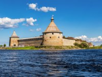 Крепость Орешек. Historical fortress Oreshek is an ancient Russian fortress. Shlisselburg Fortress near the St. Petersburg, Russia. Фото blinow61 - Depositphotos