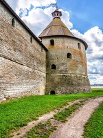 Tower of medieval Oreshek fortress is an ancient Russian fortress. Shlisselburg Fortress near the St. Petersburg, Russia. Фото blinow61 - Depositphotos