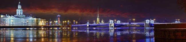 Large-format panorama of the Palace bridge, Peter and Paul fortress and the Kunstkamera in St. Petersburg before Christmas and New year. Фото Parsadanov - Deposit