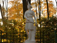 Goddess Diana statue in Summer Garden at autumn evening, St.Petersburg. In Roman mythology, the goddess of flora and fauna, femininity and fertility.Фото konstsem-D