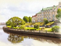 Пригороды Санкт-Петербурга. Выборг. Picture from a photo, imitation of painting. View of the Embankment of the 30th Guards Corps. Фото ppl1958 - Depositphotos