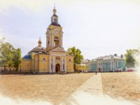 Пригороды Санкт-Петербурга. Выборг. Picture from a photo, imitation of painting. Cathedral Square. Spaso-Preobrazhensky Cathedral. Фото ppl1958 - Deposit