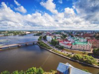 Выборг. Panoramic view of the central part of the city from the tower of St. Olaf Vyborg Castle, Leningrad region, Saint-Petersburg. Фото lira_joggi - Depositphotos