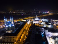 Россия. Татарстан. Мечеть Кул-Шариф в Казани. Kul Sharif Mosque. Kazan Kremlin at night from a height. Фото Denis_Aleksandrov - Depositphotos