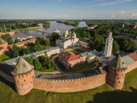 Россия. Панорама Великого Новгорода. Aerial view of Velikiy Novgorod Kremlin in Russia. Object of world heritage of UNESCO. Фото a_medvedkov - Depositphotos